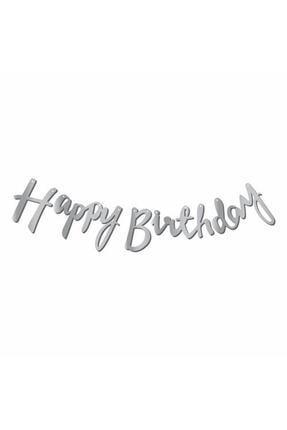 Aşkın Parti Evi Gümüş Happy Birthday Kaligrafi Banner 0