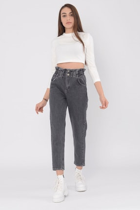 vayro Kadın Füme Kot Yüksek Bel Jean Beli Lastikli Pantolon 2
