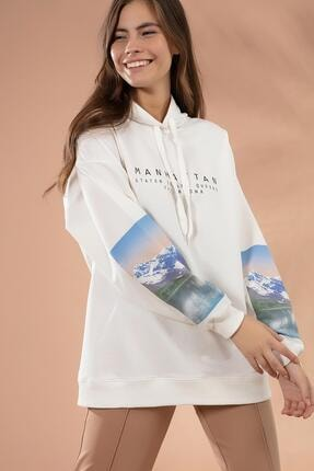 Pattaya Kadın Beyaz Kol Detaylı Kapşonlu Sweatshirt P20W-4128 0
