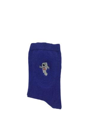 Bequeme Uzay Astronot Desenli Nakışlı Kokulu Renkli Çorap 6'lı 3