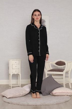 FREZYA Siyah Biyeli Düğmeli Pamuk Penye Uzun Kol Kadın Pijama Takımı 2