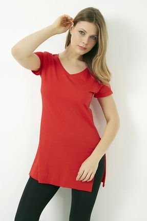 Vis a Vis Kadın Kırmızı V Yaka Yırtmaçlı Uzun Tshirt 2