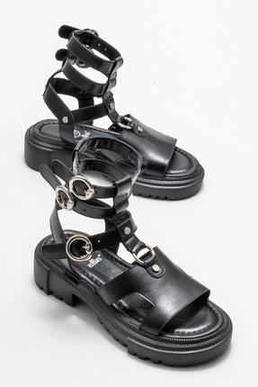 Elle Kadın Siyah Deri Spor Sandalet 1