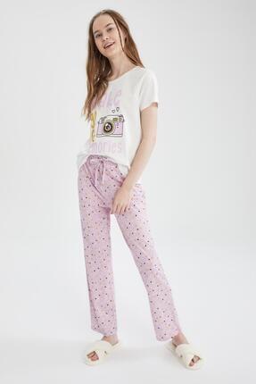 Defacto Kadın Mor Relax Fit Baskılı Kısa Kollu Pijama Takımı 2