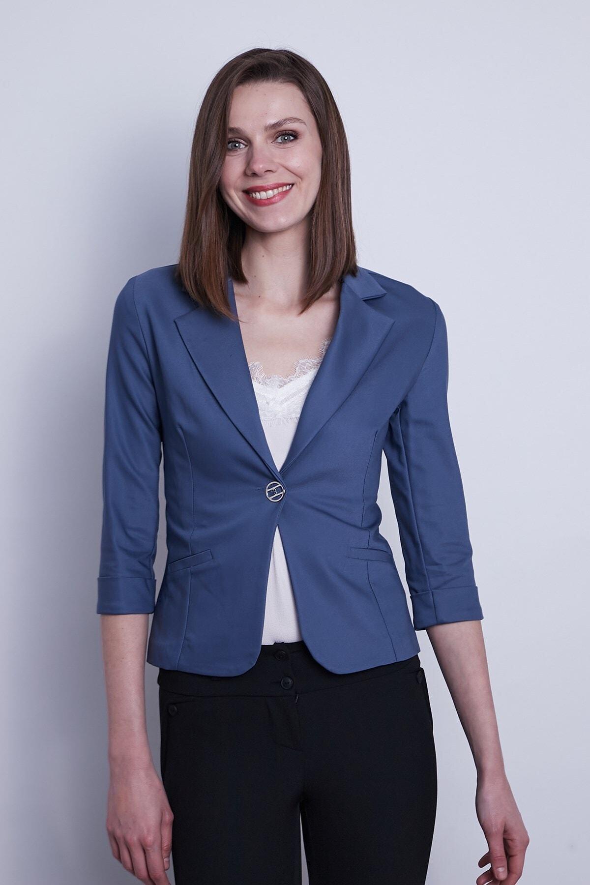 Süs Cepli Kapri Kol Düğmeli Blazer Mono Kısa Ceket-dirty Blue