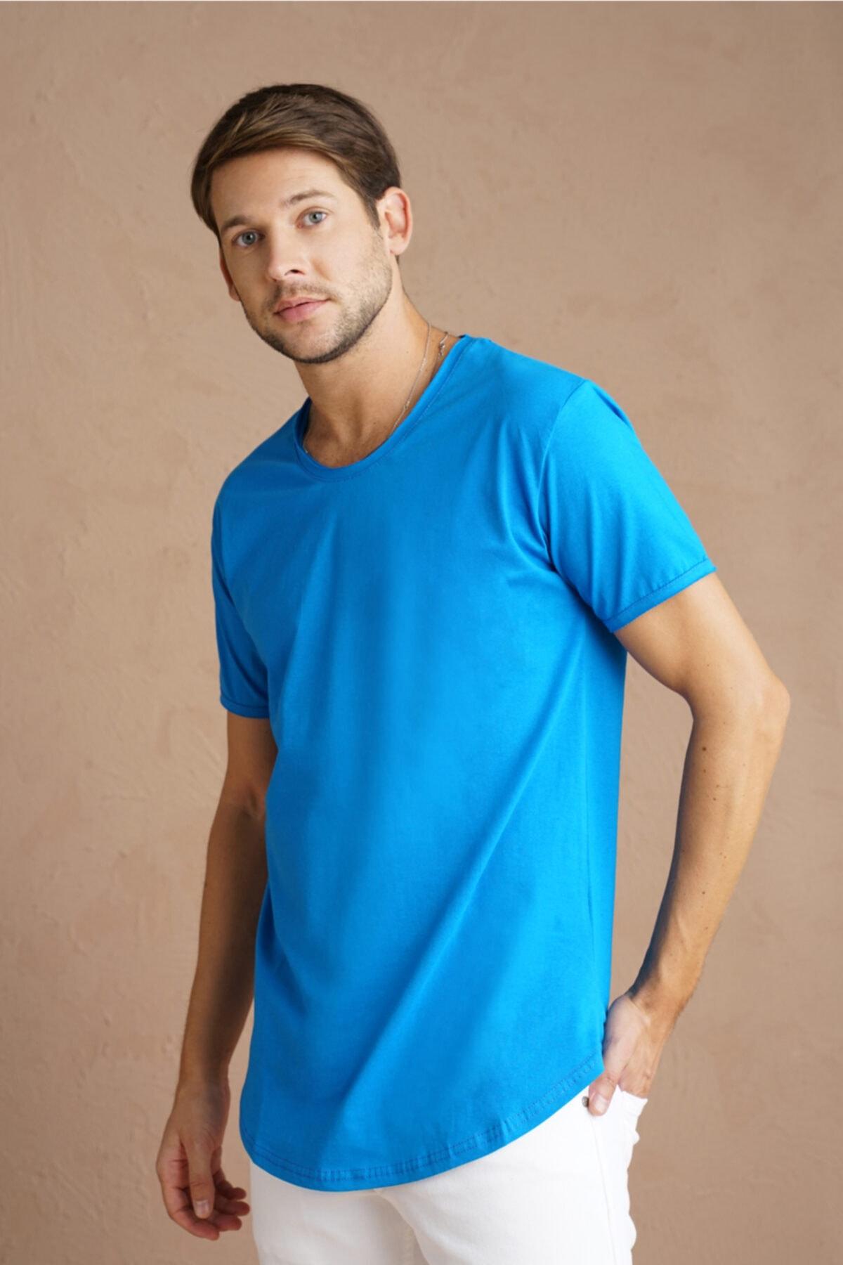 Erkek Saks Pis Yaka Salaş T-shirt