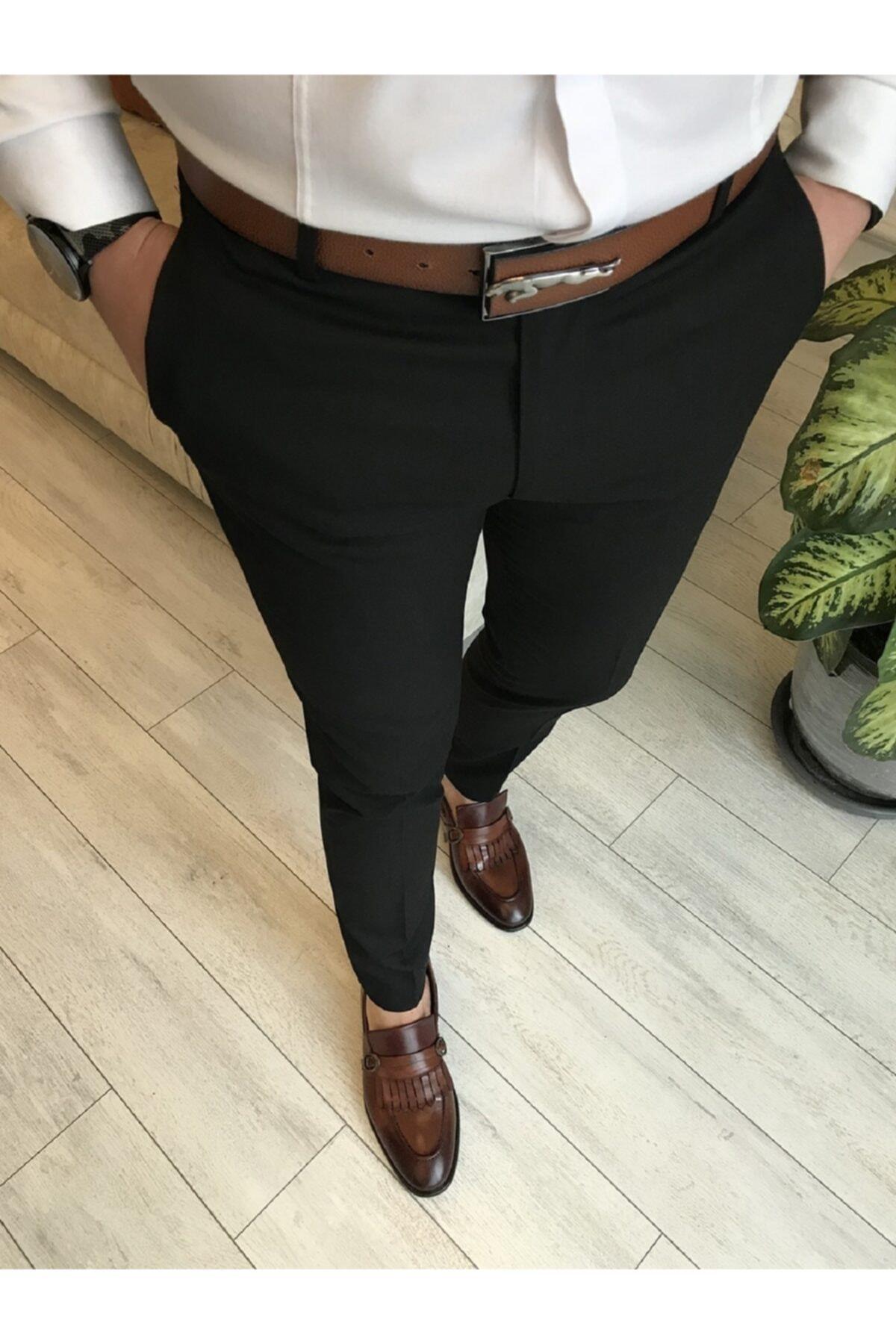 Italyan Kesim Slim Fit Siyah Kumaş Pantolon