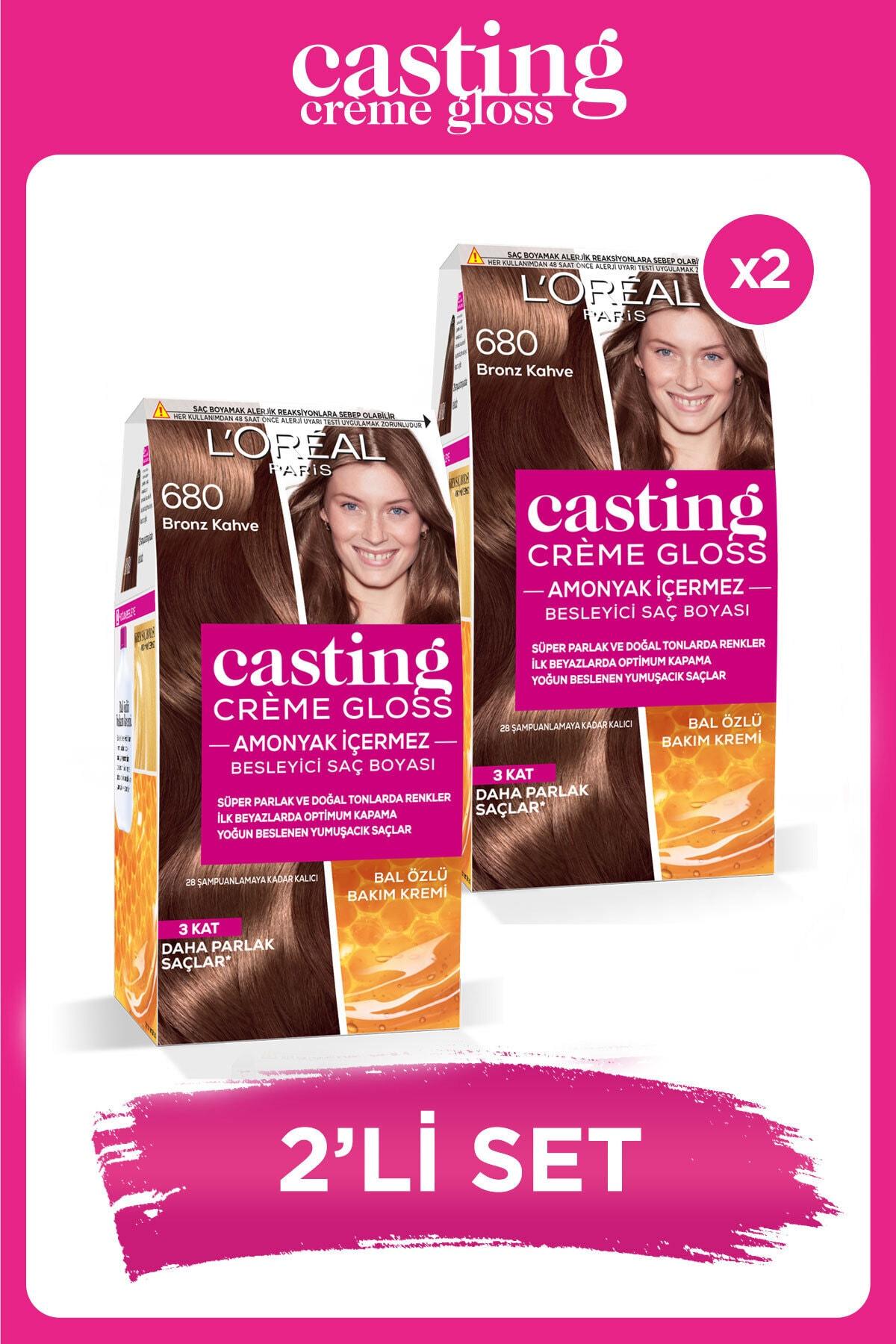 Casting Crème Gloss Saç Boyası - 680 Bronz Kahve 2'li Set