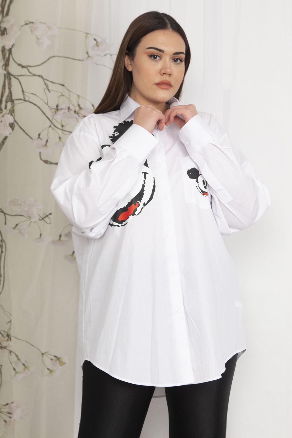 Kadın Beyaz Oversize Baskılı Gömlek