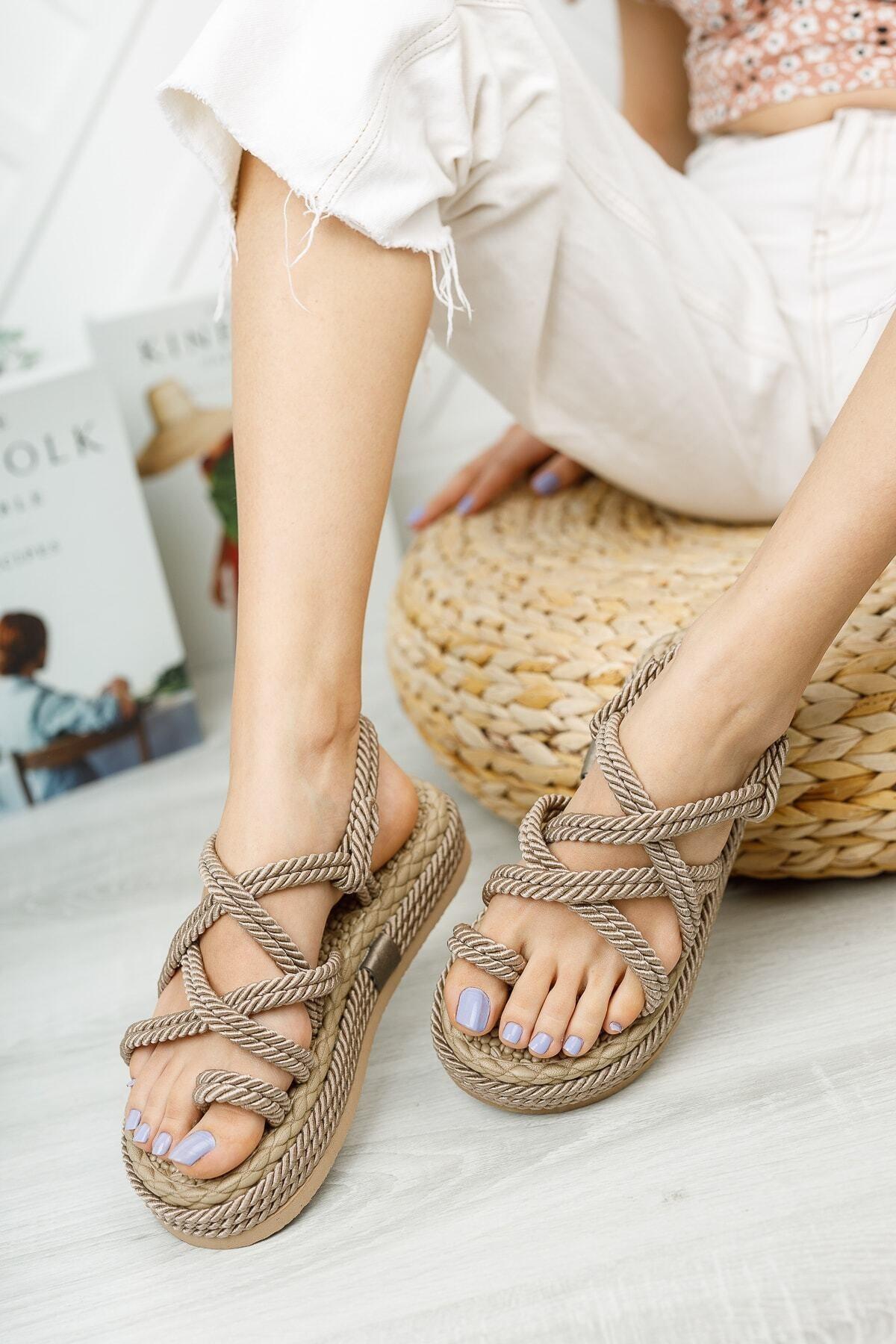 Kadın Vizon Yüksek Taban Halat Sandalet