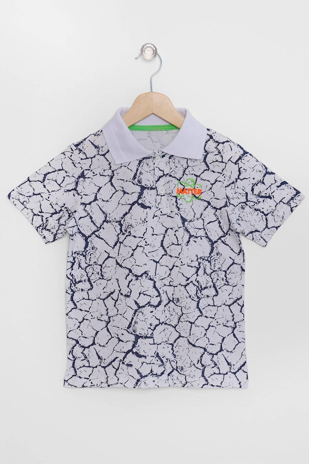 Erkek Çocuk Beyaz Polo Yaka T-shirt Matter Nakışlı 3-12 Yaş