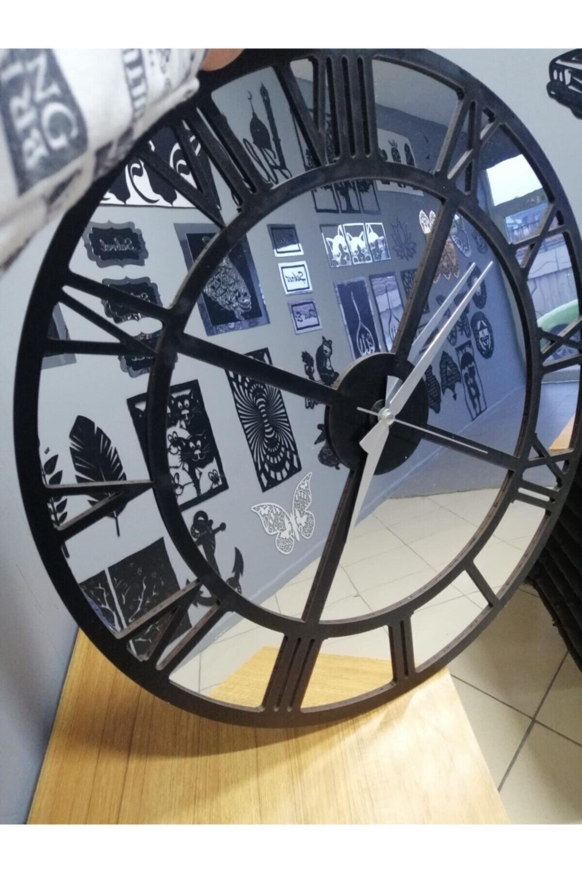 Gümüş Aynalı Pleksi & Siyah Ahşap Mdf Duvar Saati