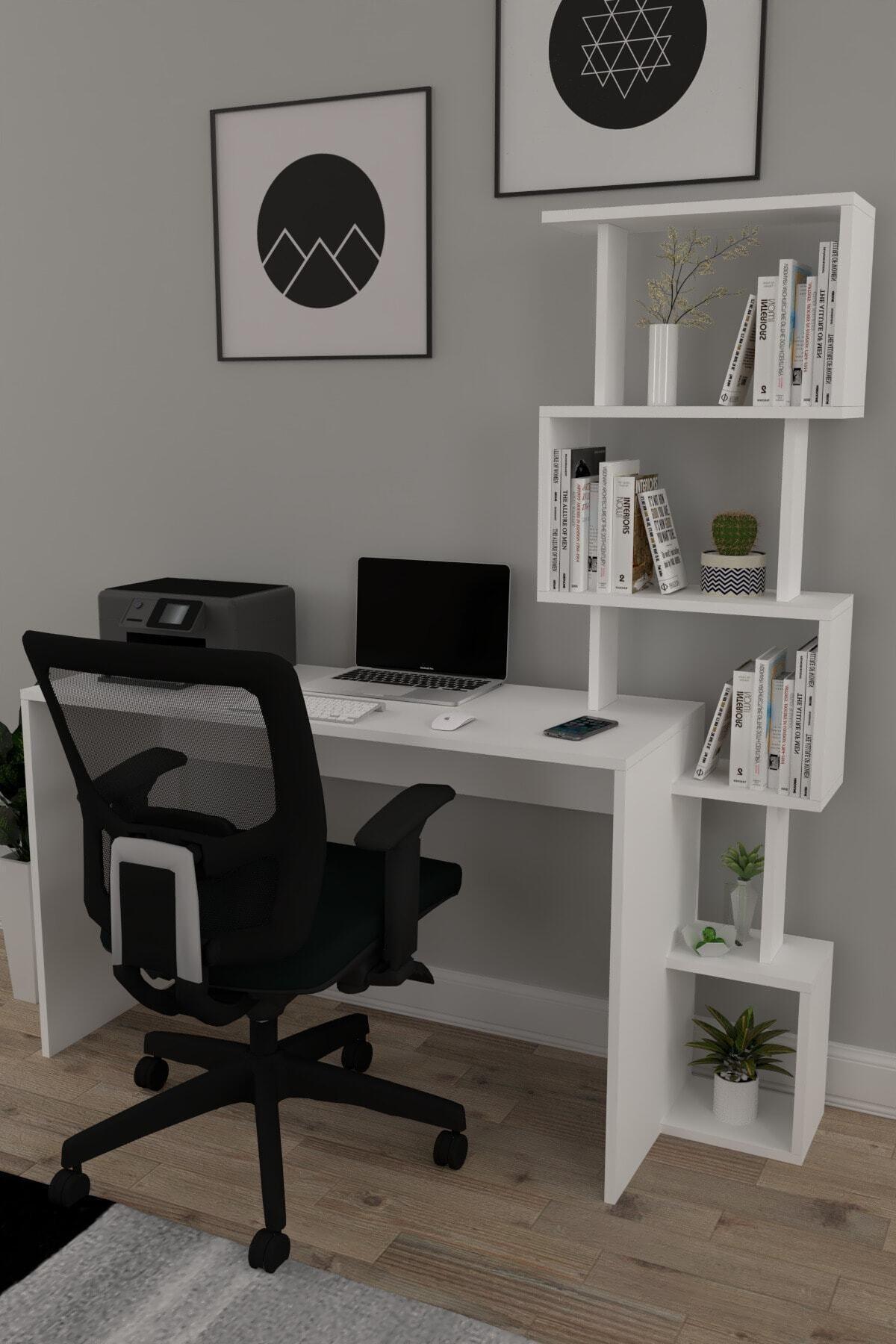 120x50 Pratik Kitaplıklı Çalışma Masası Beyaz