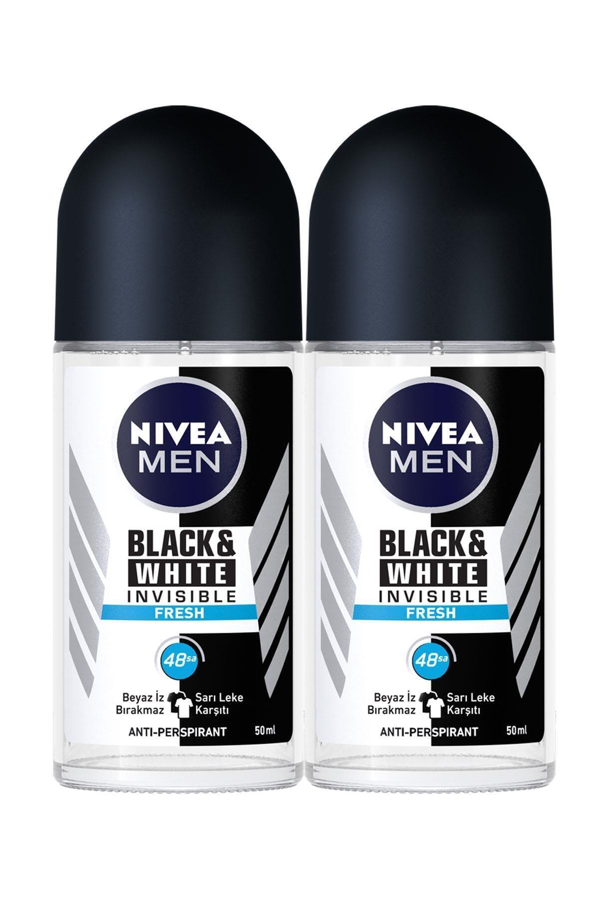 Nıvea Men Invisible Black & White Fresh Erkek Deodorant Roll-on 50 ml 2'li