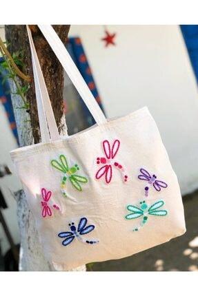 Renkli Yusufçuk Böceği Işlemeli Bez Çanta / Alışveriş Çantası / Plaj Çantası TYC00207646034