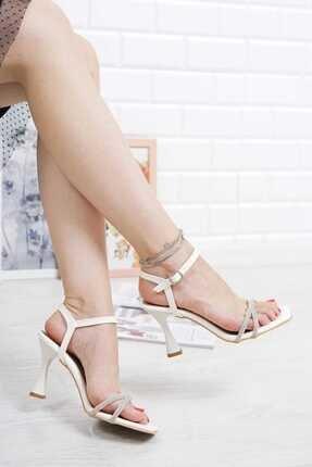 41 Numara Abiye Beyaz Ince Pırlanta Taşlı Bilekten Tokalı Topuklu Ayakkabı 17245345