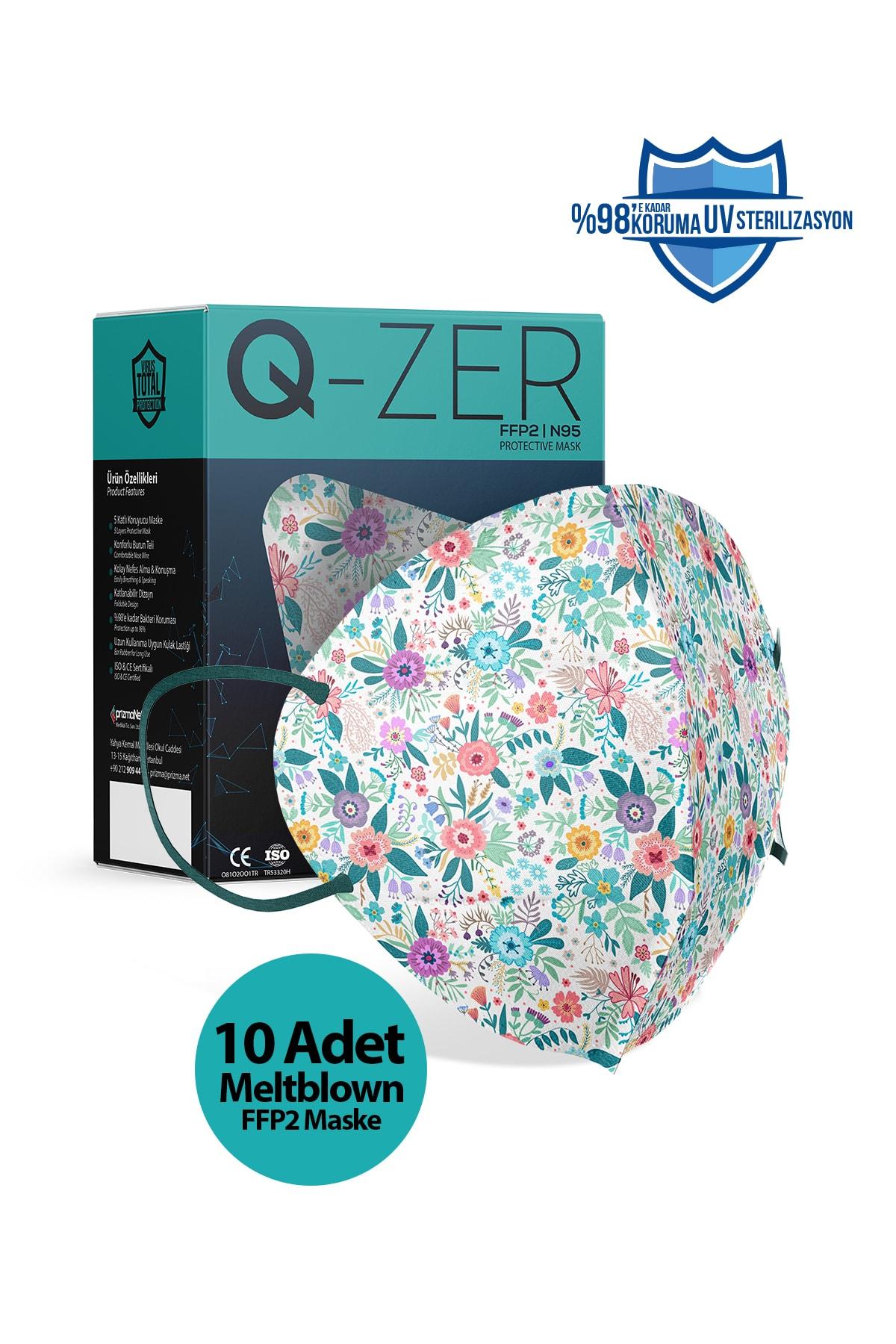 Qzer Bahar Çiçekleri Desenli N95 Maske 10 Adet