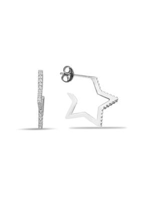 Kadın Gümüş Yıldızlı Taşlı Vidalı Yıldızlı Küpe Kupe-293 KUPE-293