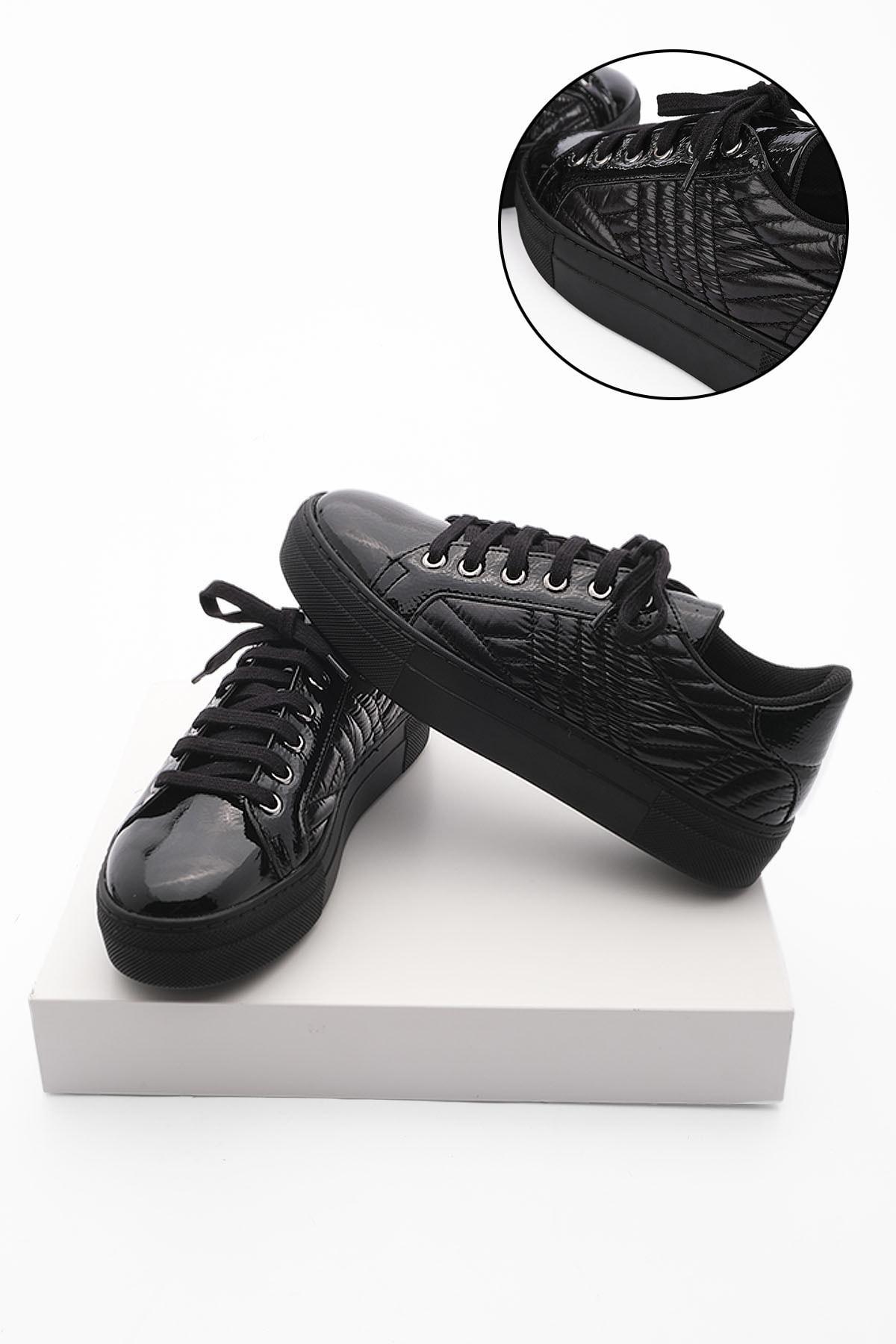 Kadın Sneaker Ayakkabı Afelasiyah Rugan