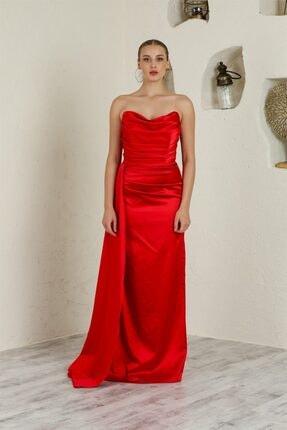 Kırmızı Hera Saten Abiye Elbise elbs011409