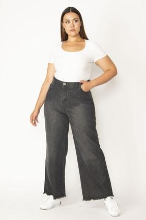تصویر از Kadın Antrasit Geniş Paçalı Sim Detaylı Paçası Pis Dikişli Kot Pantolon 65N27812