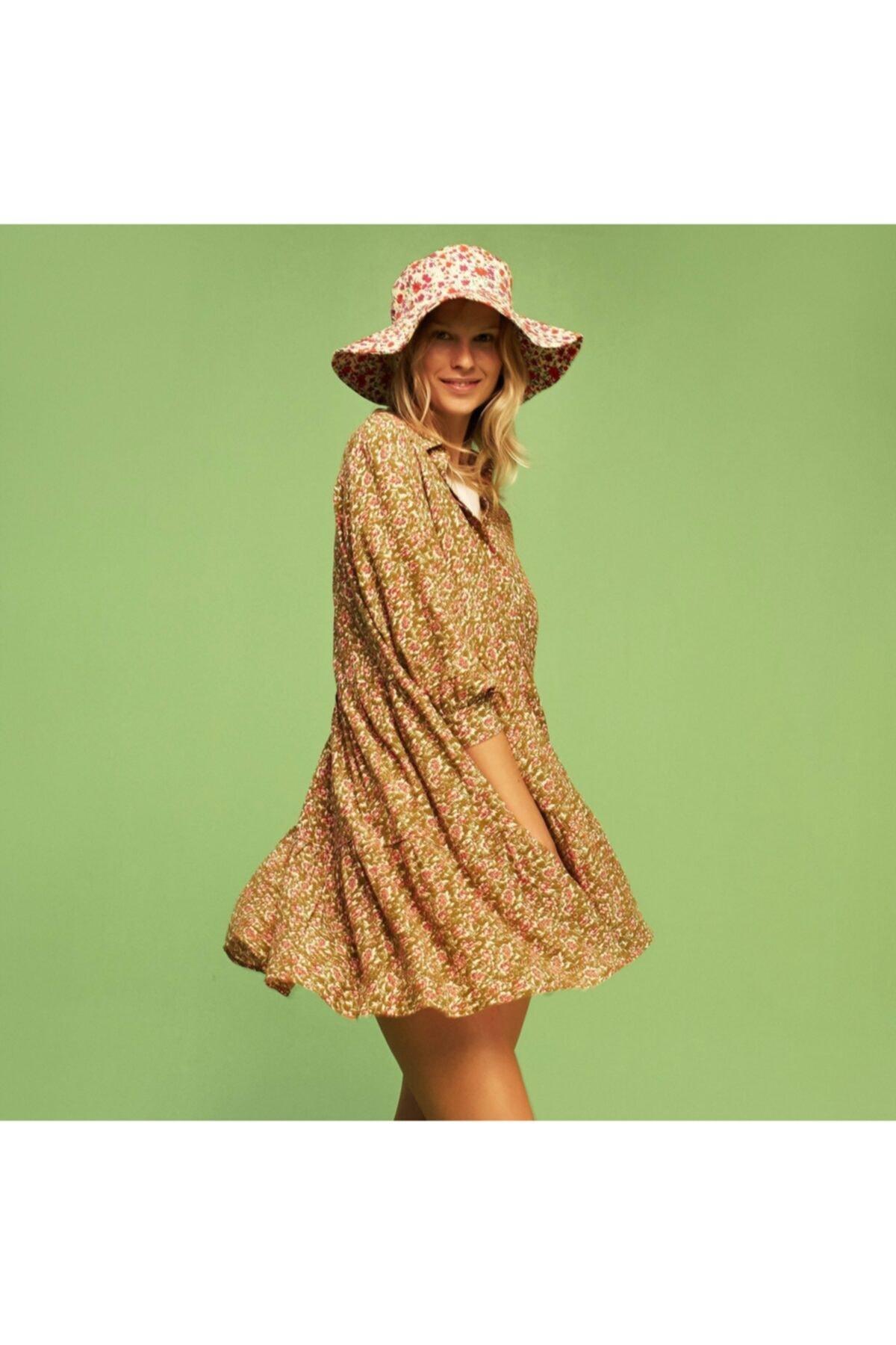 Kadın Yeşil Baskılı Rahat Kesim Mini Elbise