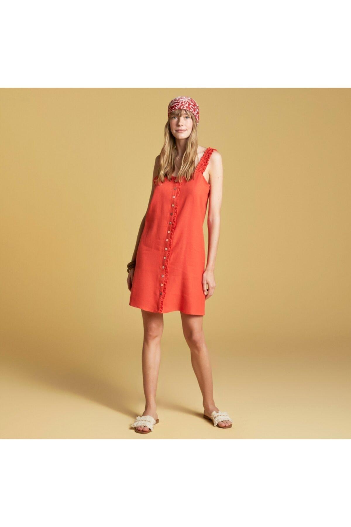 Fırfırlı Keten Mini Elbise