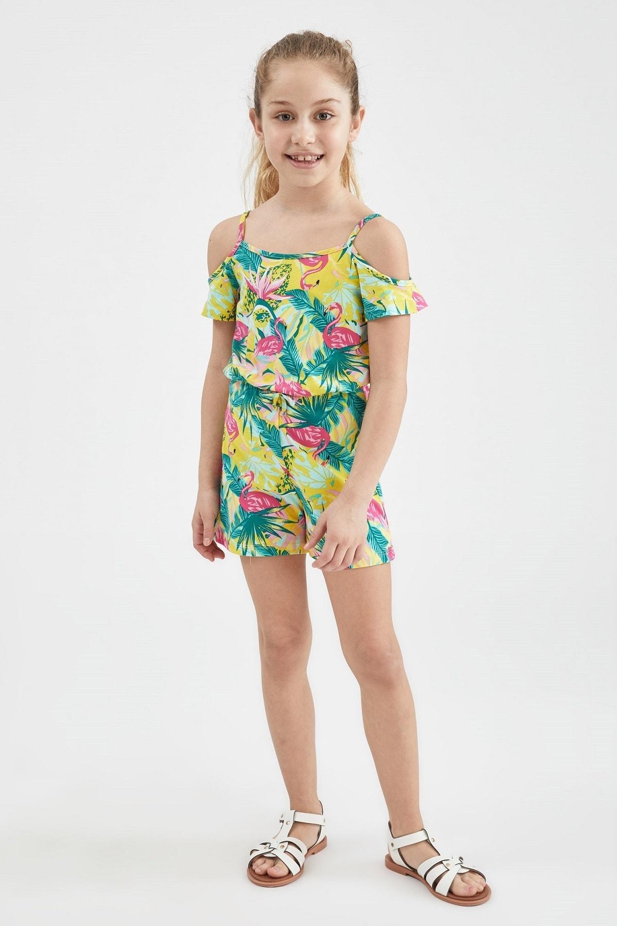 Kız Çocuk Sarı Flamingo Desenli Şort Tulum