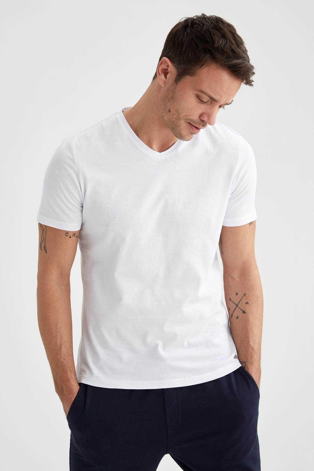 Slim Fit V Yaka Basic Beyaz Tişört