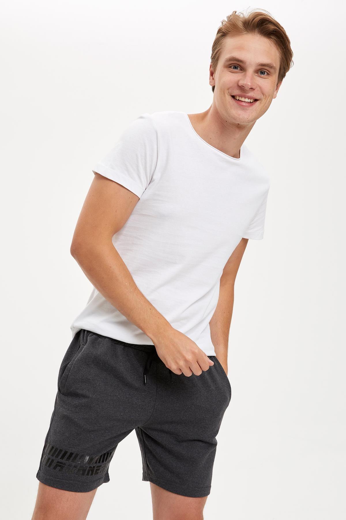 Erkek Gri Bağcıklı Slim Fit Spor Şort S5258AZ20SM