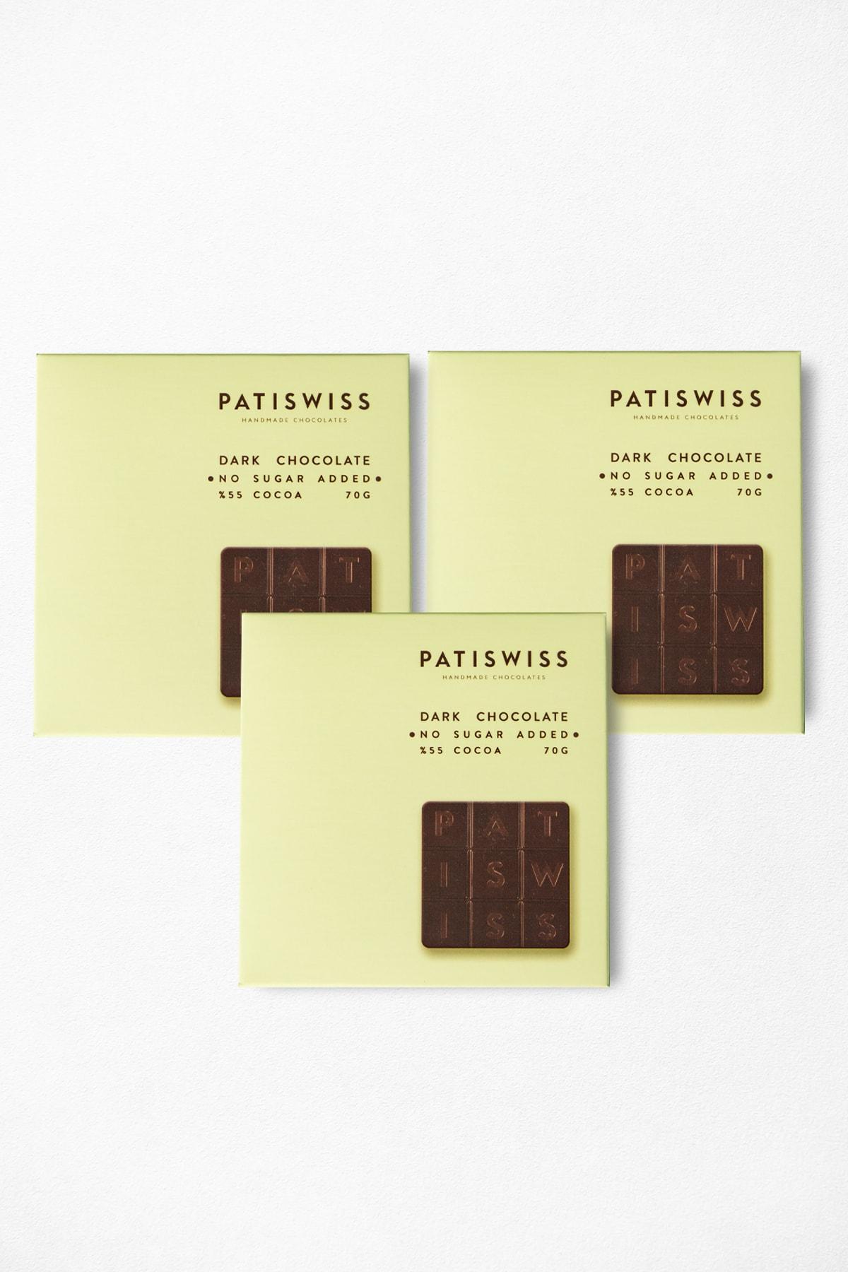 Şekersiz Bitter Tablet Çikolata 70 Gr 3 Adet