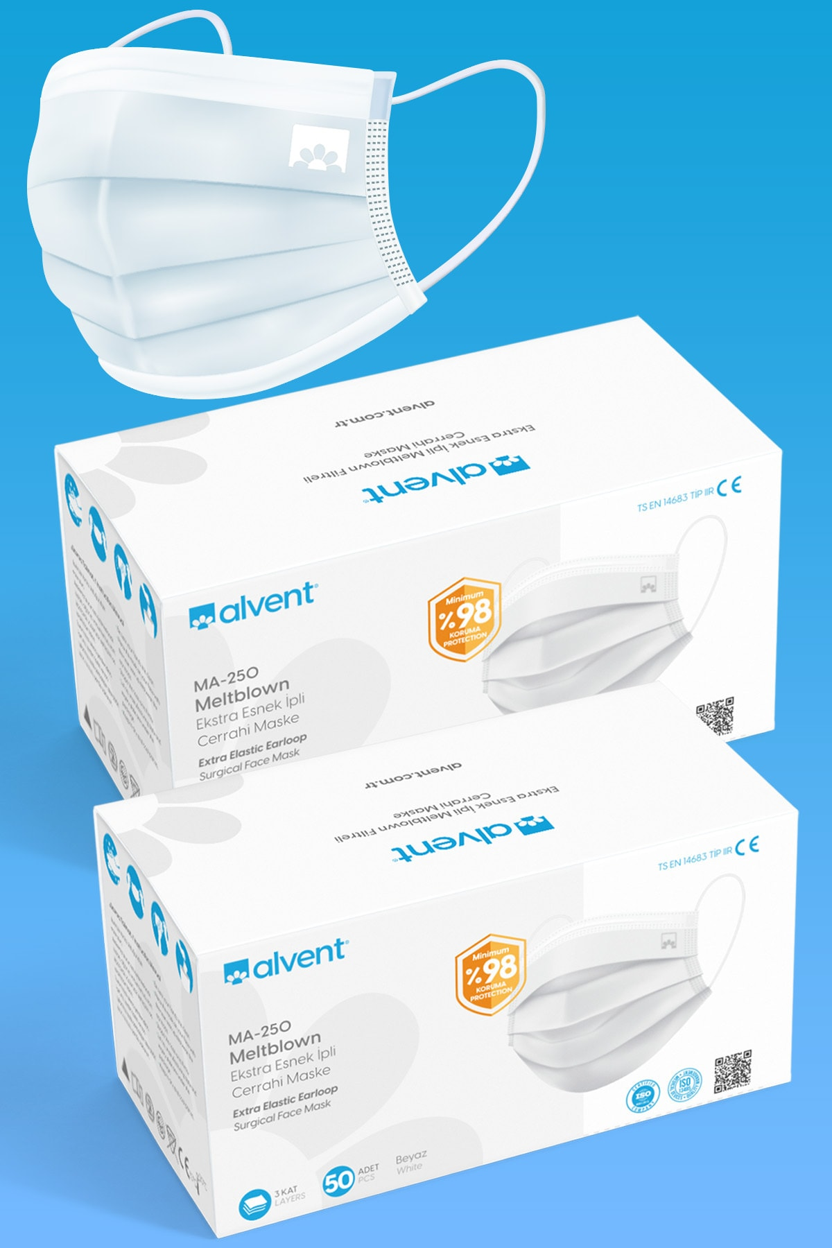 Beyaz 3 Katlı Telli Meltblown Filtreli Cerrahi Maske 100 Adet Telli Ma-250
