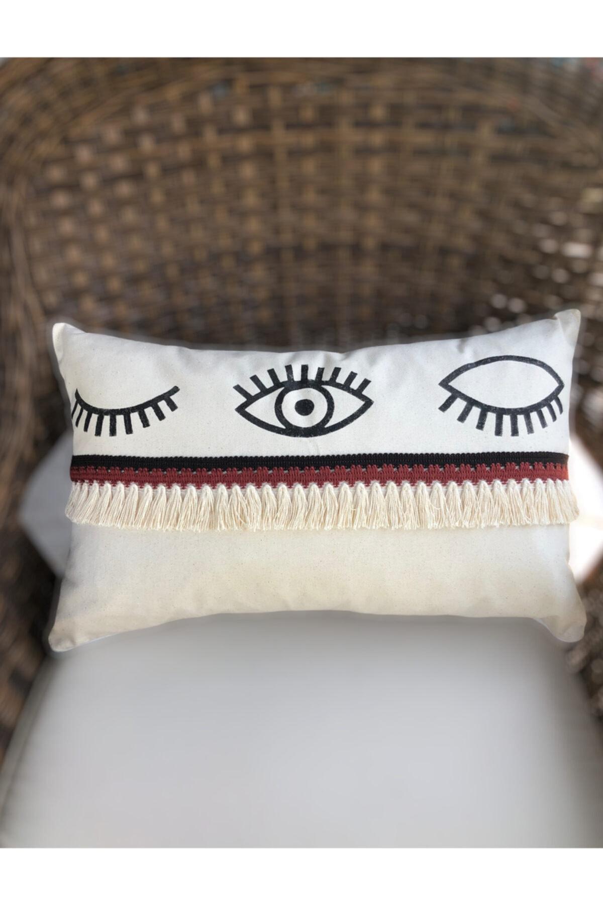 Özel Tasarım Keten Göz Nazar Desen El Boyama Dekoratif Kırlent Kılıfı