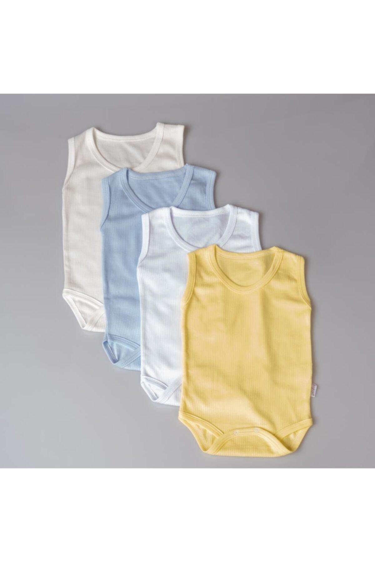 %100 Pamuklu Erkek Bebek Askılı Body Zıbın Takım Çıtçıtlı Fitil Desen 4'lü