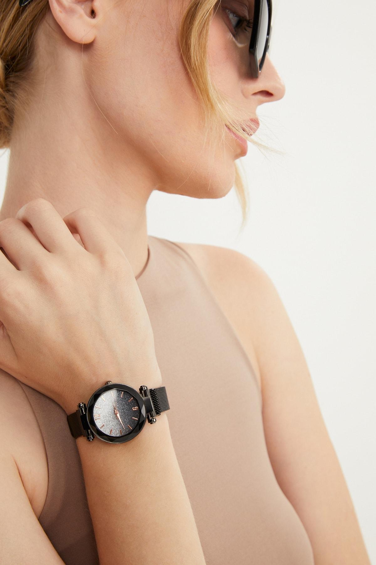 Kadın Hasır Mıknatıslı Kol Saati Siyah Apsv1-a5444-kh333