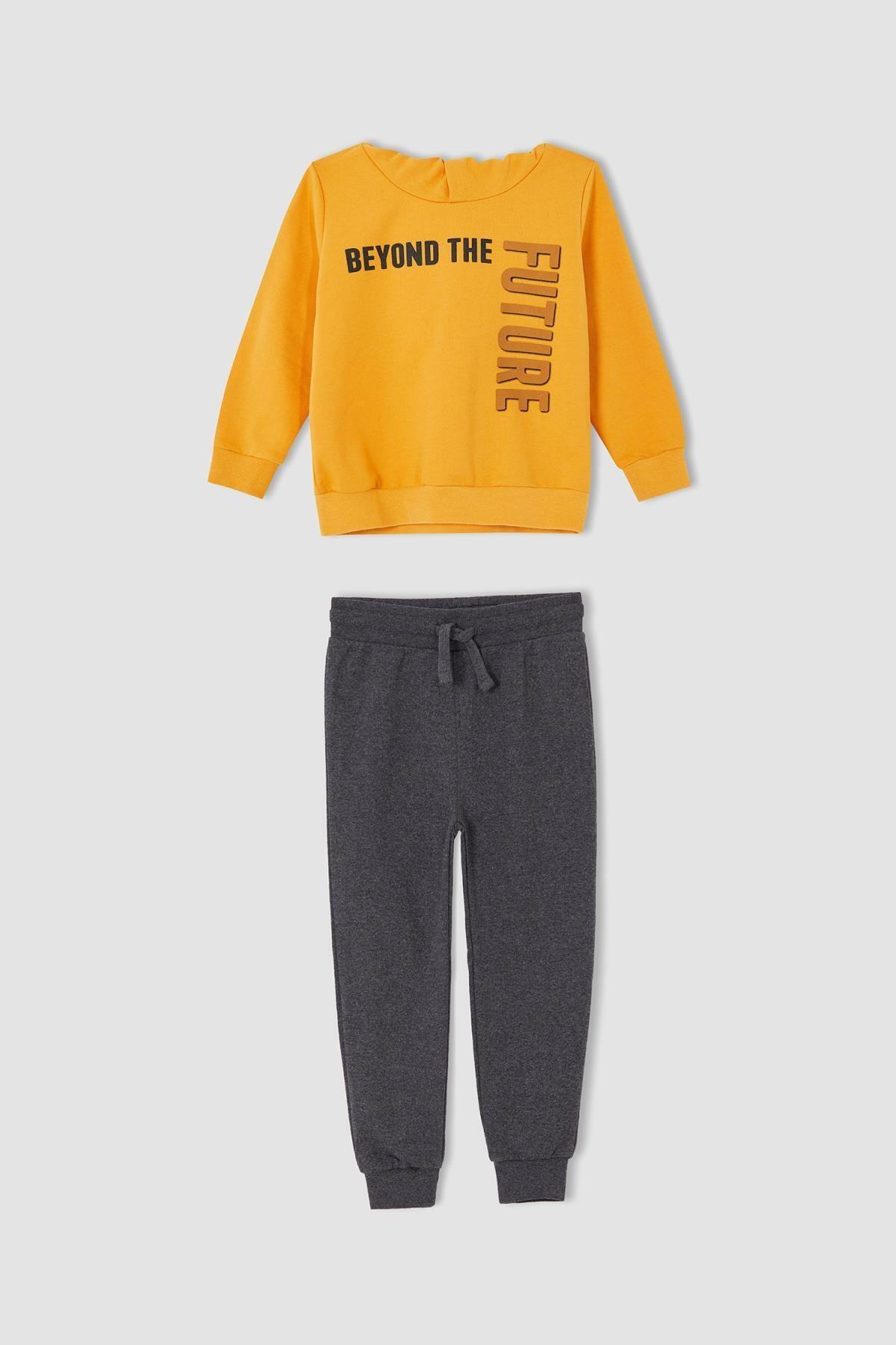 Erkek Çocuk Sarı Yazı Baskılı Sweatshirt Ve Jogger Eşofman Alt Takımı