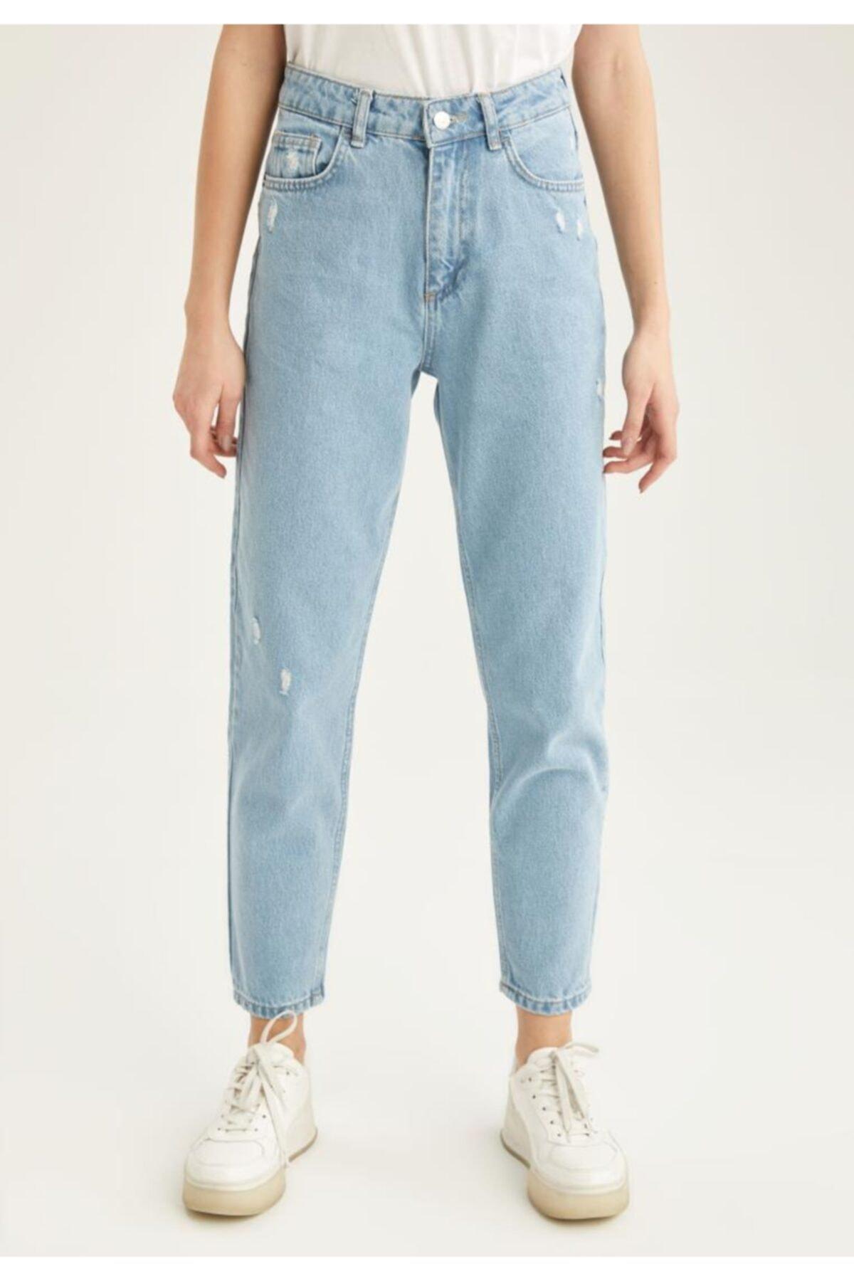 Kadın Mavi Fit Yüksek Bel Jean Pantolon