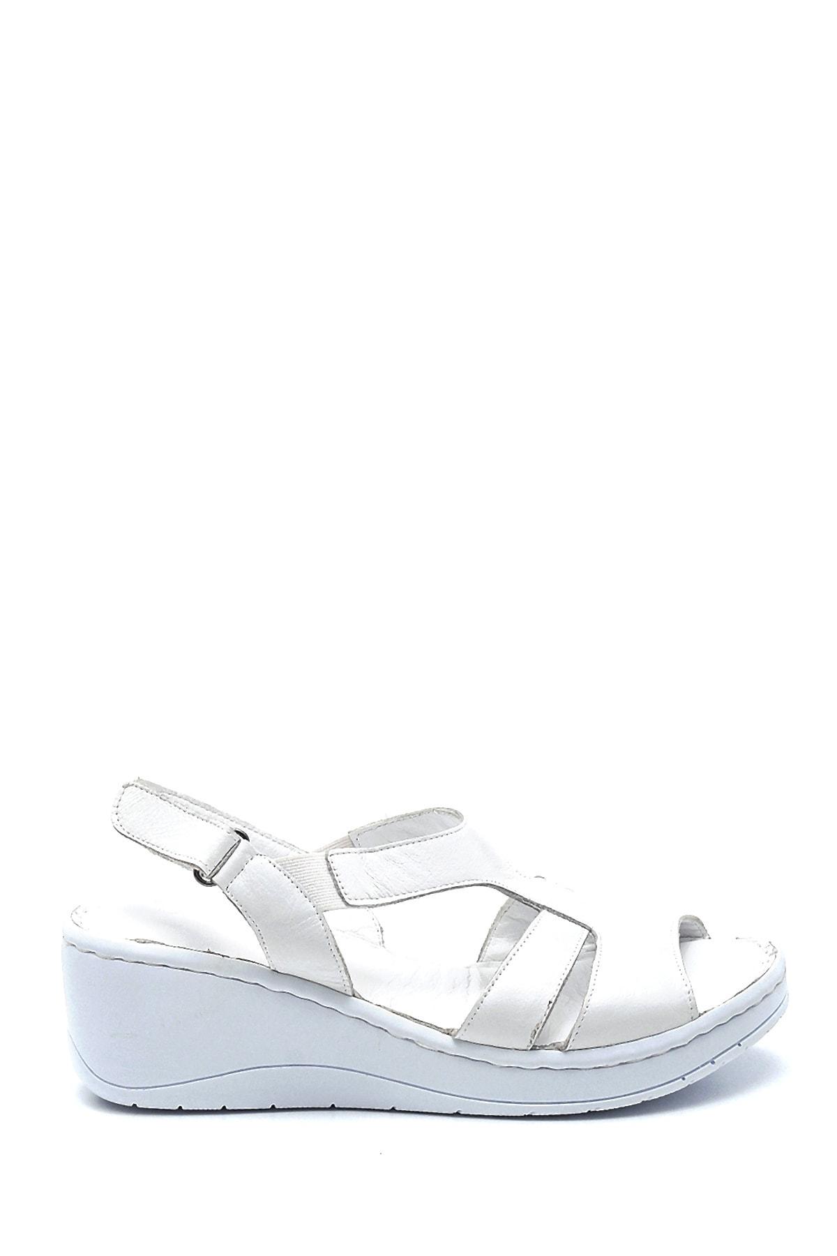 Kadın Comfort Dolgu Topuk Deri Sandalet