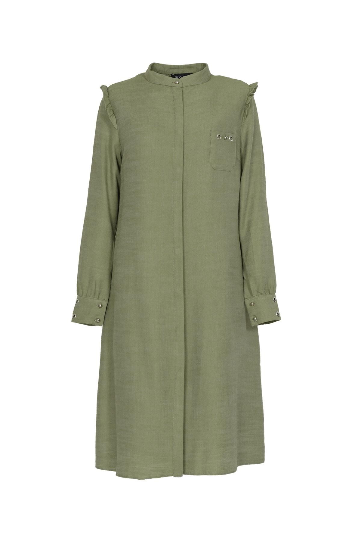 Kadın Yeşil Gizli Patlı Pamuk Gömlek Tunik 6001