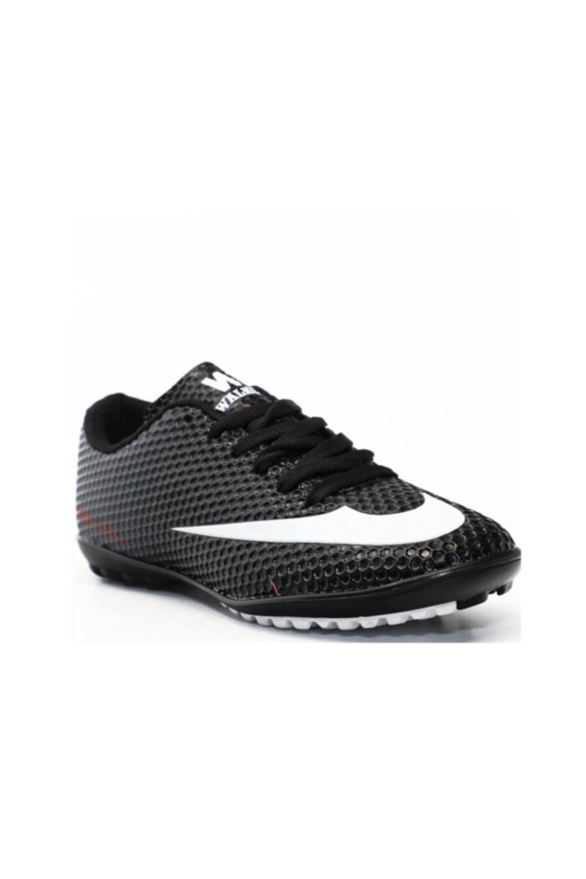 401 Erkek Halı Saha Ayakkabısı Siyah Beyaz