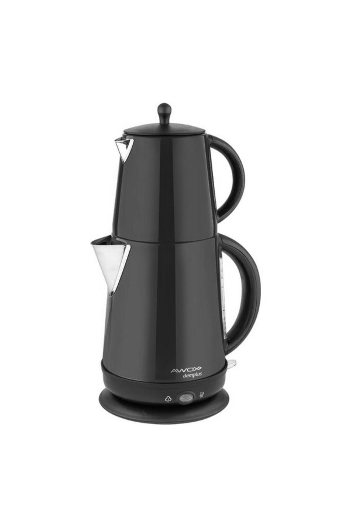 Demplus Siyah Paslanmaz Çay Makinası