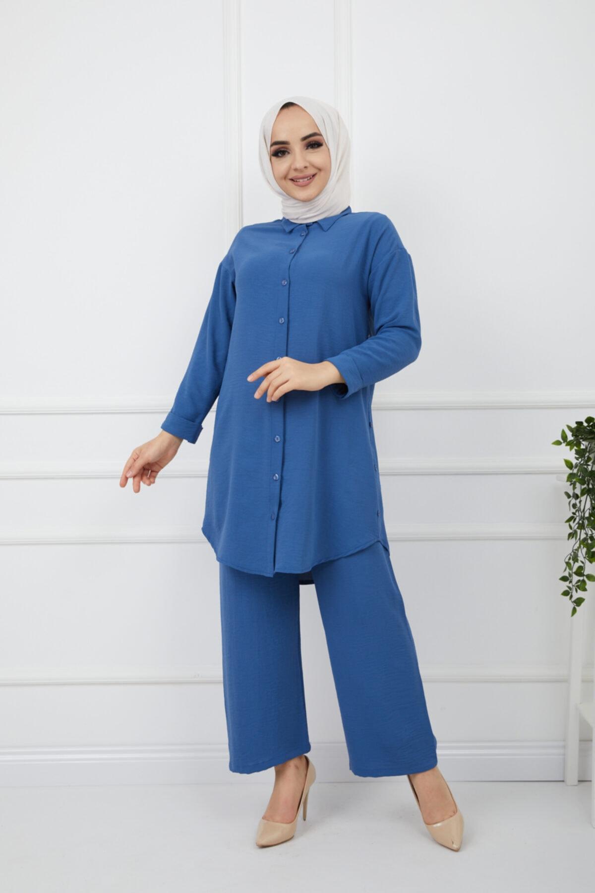 Kadın Tesettür Airobin Kumaş Tunik&bol Paça Pantolon Takım
