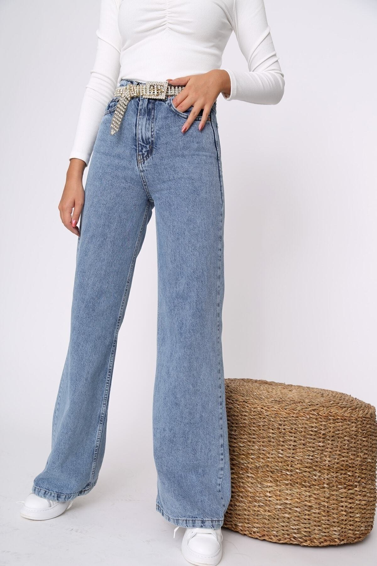 Kadın Mavi Kar Yıkamalı Likralı Süper Yüksek Bel Geniş Paça Jean