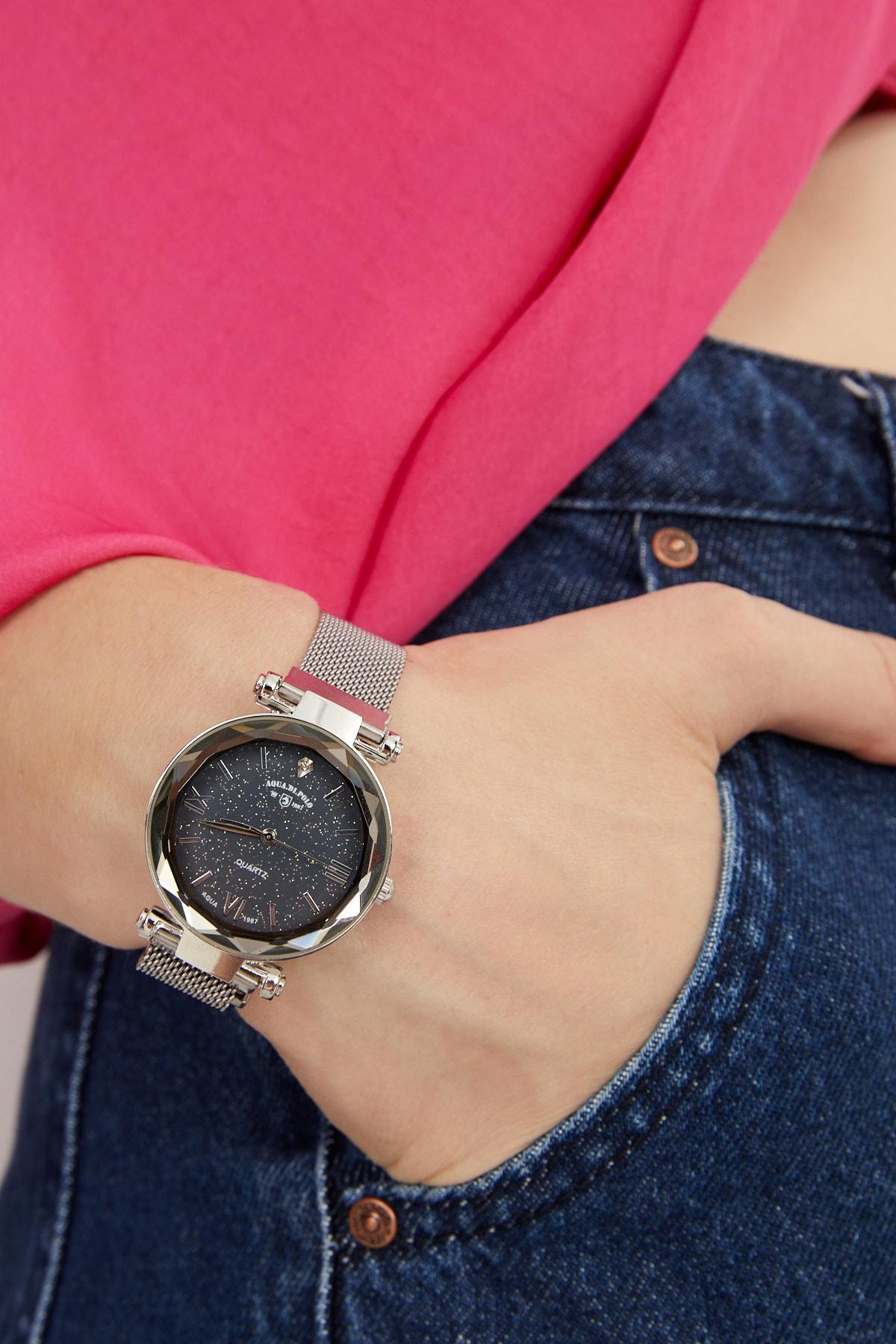 Kadın Hasır Mıknatıslı Kol Saati Gümüş Apsv1-a5435-kh131 Hasır