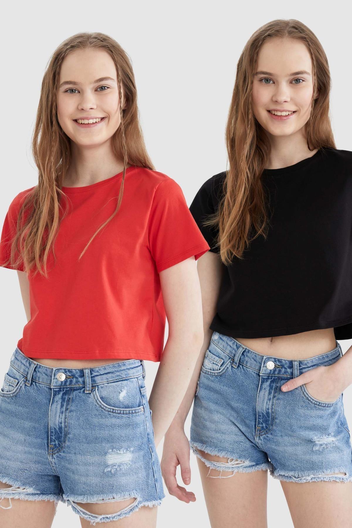 Kadın Regular Fit Basic  Crop Tişört Seti 2'li