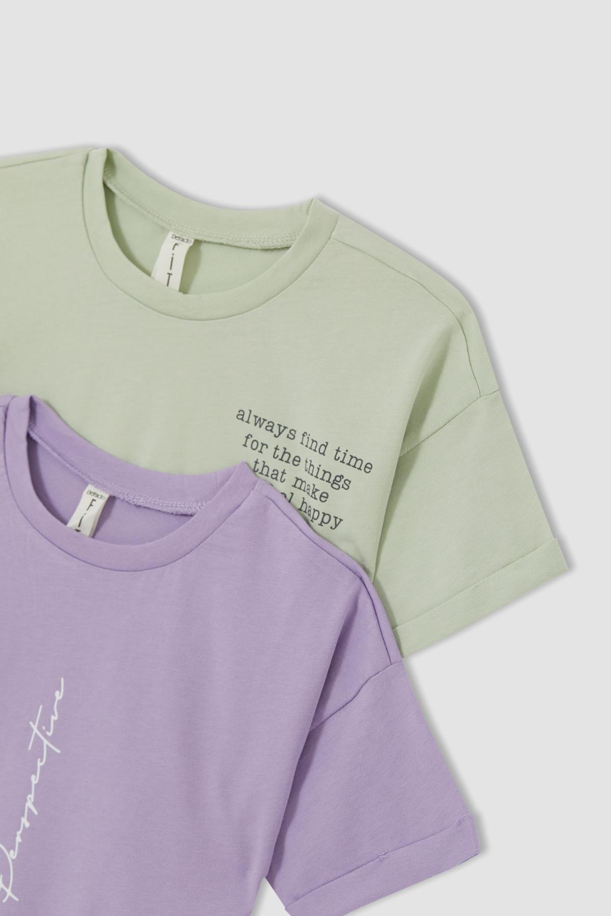 Kızçocuk Yazı Baskılı 2'li Kısa Kol Tişört