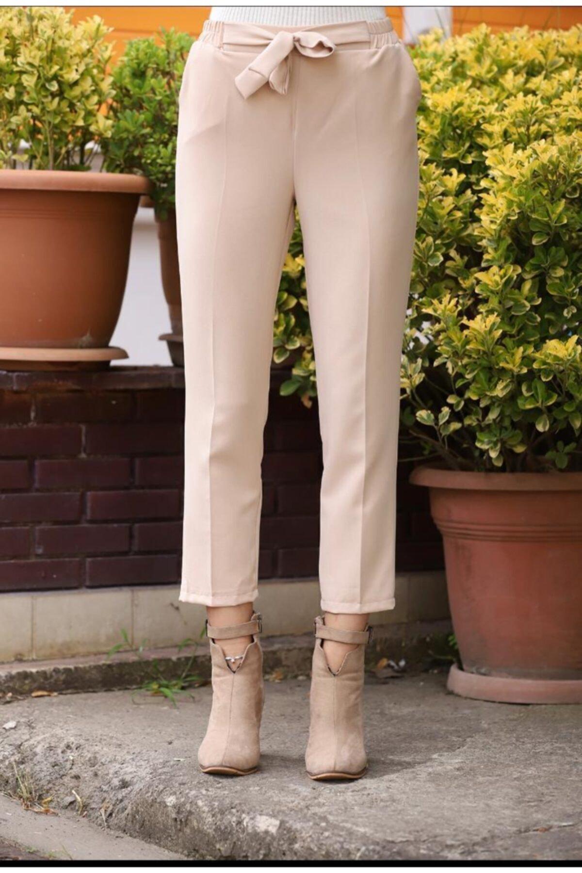 Kadın Ekru Lastikli Havuç Pantolon - Me000309