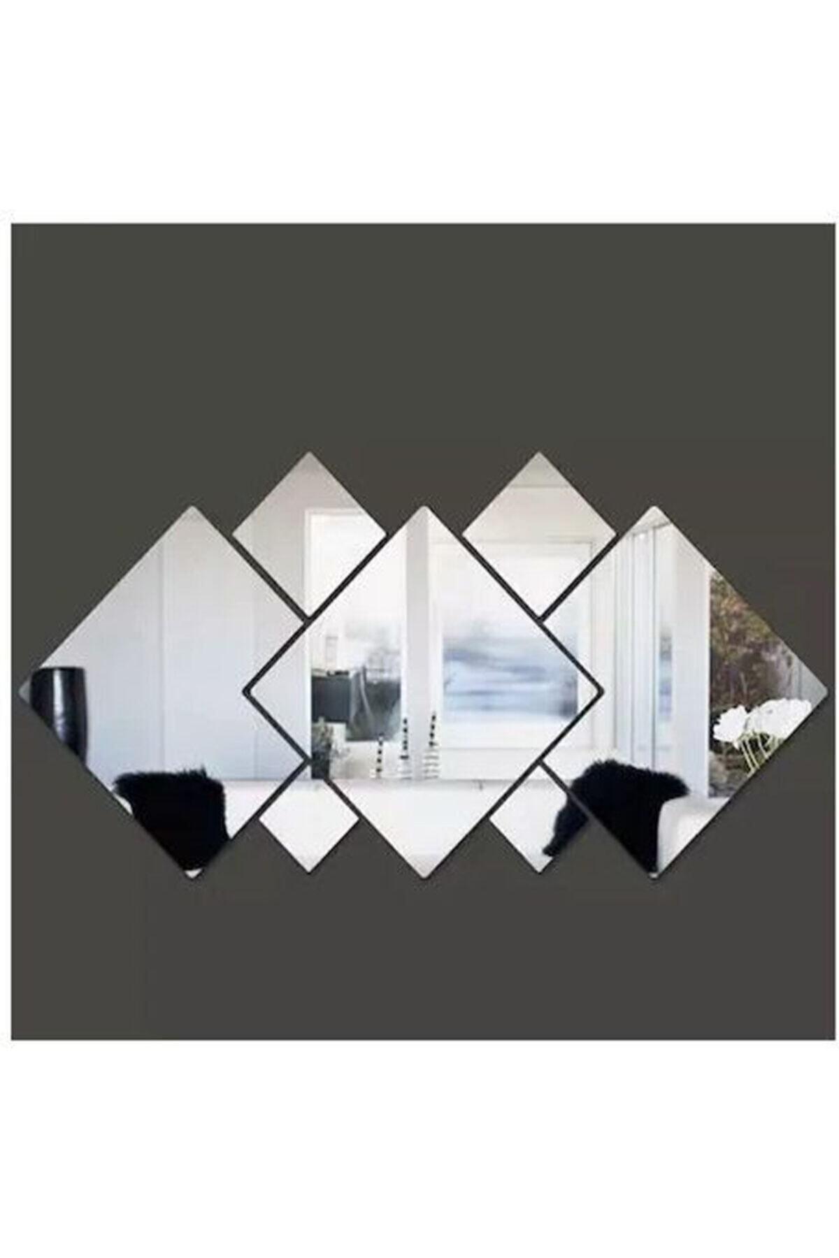 Dekoratif Kare Karışık Pleksi Ayna Gümüş