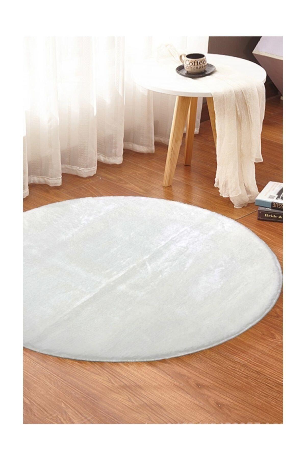 Yuvarlak Düz Renk Beyaz Peluş Pofuduk Kaydırmaz Jel Taban160x160