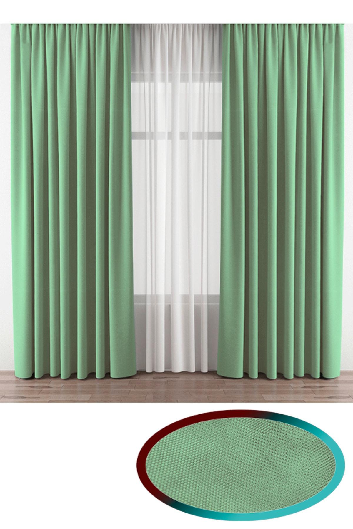 Mint Yeşili Kadifemsi Kumaş Extrafor Büzgü Kalite Tek Kanat Fon Perde